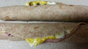 Too much cream cheese and mustard in a tortilla rollup. Wipe it off and use it anyway. I've never had a complaint about the flavor!