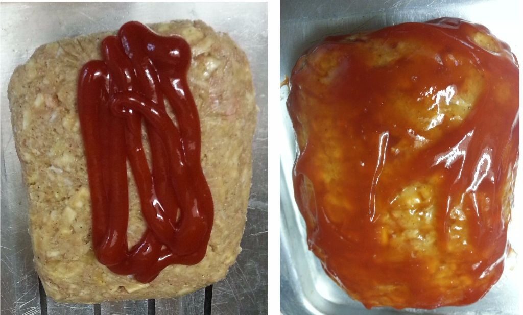 Adding ketchup to meat loaf