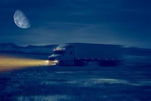 Night Truck Drive in the Desert